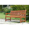 Outdoor Eucalyptus Wood 5-Ft Garden Bench with Natural Finish.