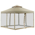 10 x 10 Ft Outdoor Gazebo with Tan Brown Polyester Canopy and Mesh Side Walls.
