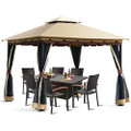 10 x 10 Ft Outdoor Gazebo with Taupe Brown Vented Canopy and Mesh Side Walls.