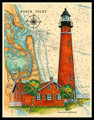 Ponce Inlet Sea Chart Light by Donna Elias
