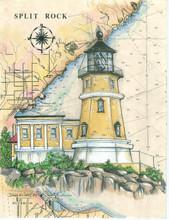 Split Rock Lighthouse - Original Sea Chart Light painting by Donna Elias