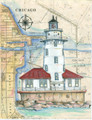 Chicago Harbor Sea Chart Light Original Painting