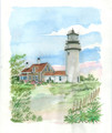 Cape Cod Highland Lighthouse - Maritime Watercolors Original Painting