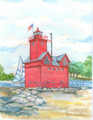 "Holland Harbor ""Big Red"" Lighthouse Maritime Watercolors Original Painting"