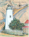 Ocracoke Island Sea Chart Light Original Painting