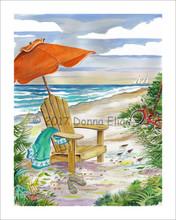 Beach Chair with Green Towel © 2017 Donna Elias