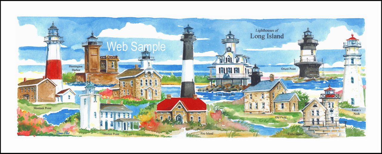 Long Island Lighthouses 8 X 20 Fine Art Print Donna Elias