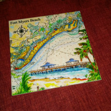 Fort Myers Sea Chart Tile by Donna Elias
