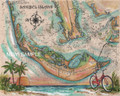 "Sanibel Island Sea Chart - 16"" x 20"" Fine Art Print"