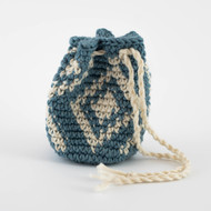 Ocean Blue and White Diamond Single Oil Pouch