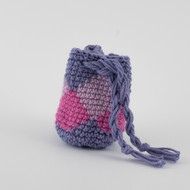 Purple, magenta and lilac diamond pattern, crochet, single oil Modern Medicine pouch 2018 Spring Collection   031518c