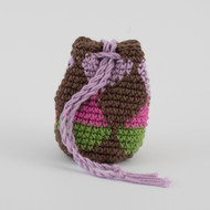 Brown, green, pink and purple diamond pattern, crochet, single oil Modern Medicine pouch 2018 Spring Collection   031518e