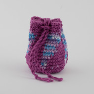 Magenta with Striped Blue, Lilac and White Pod  Pattern Single Oil Pouch