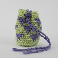 Light Green and Purple Small Triangles Pattern Single Oil Pouch