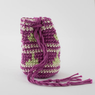 Magenta, Light Green and White Geometric with Stripes Pattern Single Oil Pouch