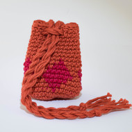 Orange and Red Diamond Pattern Single Oil Pouch