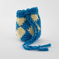 Bright Blue and Yellow Diamond Pattern Single Oil Pouch - SOLD