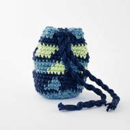 Navy Blue, Light Blue and Light Green Horizontal Pattern Single Oil Pouch