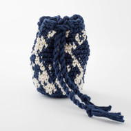 White and Navy Blue  Diamond Pattern Single Oil Pouch - SOLD