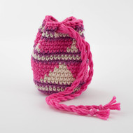 Hot Pink, Magenta and White Stripes with Triangles Pattern Single Oil Pouch