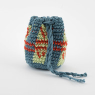 Light Blue, Light Green and Orange Striped Pattern Single Oil  Pouch