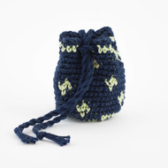 Navy Blue and Light Green Small Diamond Pattern Single Oil Pouch