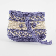 Purple and Off White Patterned Three Oil Pouch