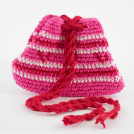 Hot Pink, Red and White Striped Patterned Three Oil Pouch