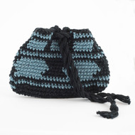 Black and Light Blue Geometric with Stripes Pattern Three Oil Pouch