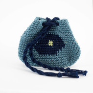 Navy and Light Blue Hexagonal Pattern with Light Green Dot Three Oil Pouch