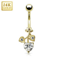 GDN0030 14KT Yellow Gold Navel Ring w/Heart