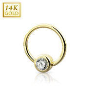 GDR03-1411 14KT Yellow Gold Ring 5mm Ball/CZ
