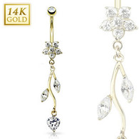 GDN410 14Kt. Gold Flower/CZ Vine Dangle