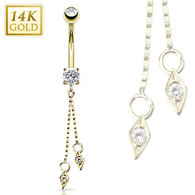 GDNEB-121-1 14KT Yellow Gold Navel Ring w/ 4mm CZ/Dangle