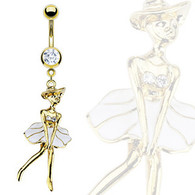 GDPN11581 GOLD PLATED MONROE LADY BELLYRING