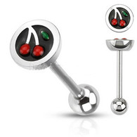 BSQ-0111 Surgical Steel Barbell with Half Dome Cherry Top