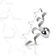 JA1016 316L Surgical Steel Three Stars Tragus/Cartilage Piercing Stud