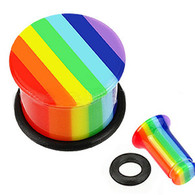 PASFRN All UV Rainbow Pride Single Flared Top Hat Plug with O-Ring