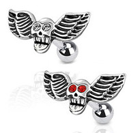 JA1014 316L Surgical Steel Winged Skull with CZ Eyes Cartilage/Tragus Barbell