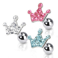 JA1006 316L Surgical Steel Tragus/Cartilage Barbell with Multi Paved Crown Top
