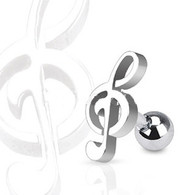 JA1015 316L Surgical Steel Treble Clef Music Note Tragus/Cartilage Piercing Stud