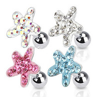 JA1008 316L Surgical Steel Tragus/Cartilage Barbell with Multi Paved Starfish Top