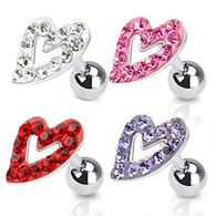 JA1003 316L Surgical Steel Tragus/Cartilage Barbell with Multi Paved Hollow Heart Top