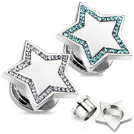 PS52 316L Surgical Steel Star Top with Multi CZ Screw-Fit Plug