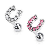 JD-12 Tragus/Cartilage Barbell with Multi Paved Lucky Horseshoe Top