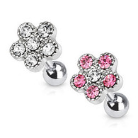 JD-11 Tragus/Cartilage Barbell with Multi Paved Flower Top