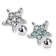 JD-10 Tragus/Cartilage Barbell with Multi Paved Star Top