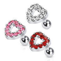 JD-14 Tragus/Cartilage Barbell with Multi Paved Heart Top