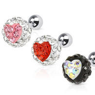 JX-6008 Tragus/Cartilage Barbell with Heart Ferido Crystal Ball