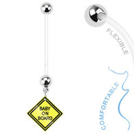 NPG-1005 Bio Flex Pregnancy Navel Ring with Baby on Board Sign Dangle